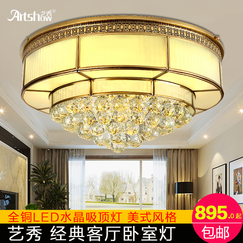 All copper led crystal ceiling lamp art show diabla radius of european american style bedroom living room restaurant aisle lights