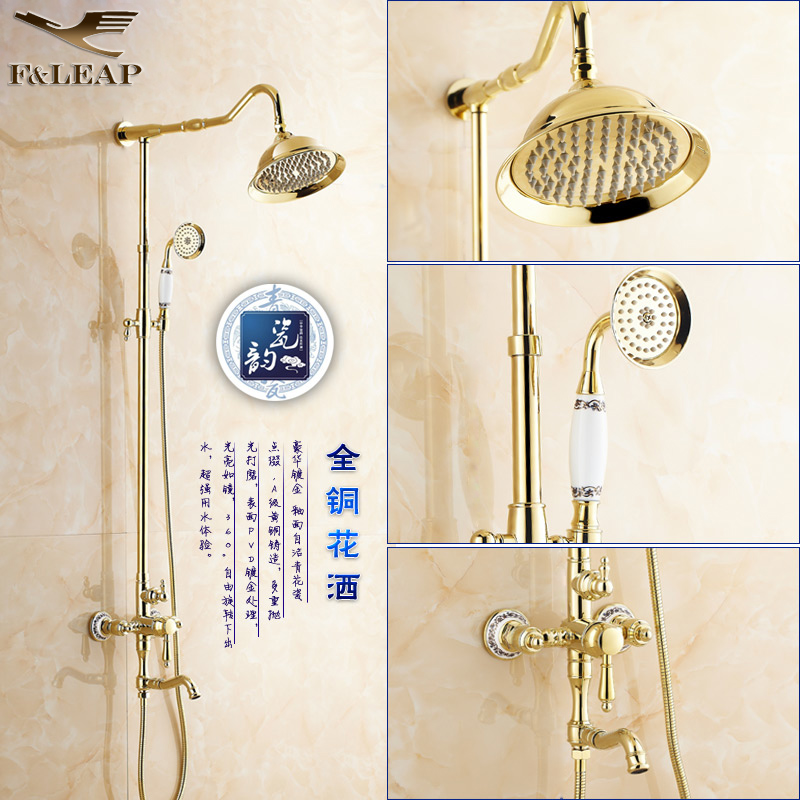 All copper shower suite continental european golden shower golden shower faucet retro antique shower