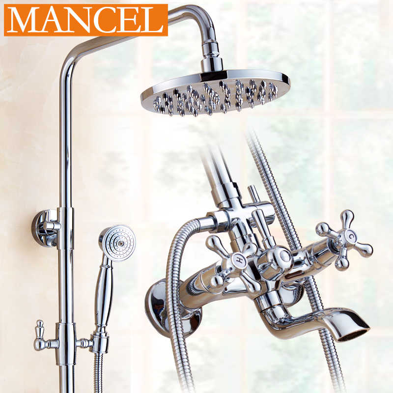 All copper shower suite shower nozzle shower bathroom shower hot and cold rain shower nozzle suite bathroom full copper