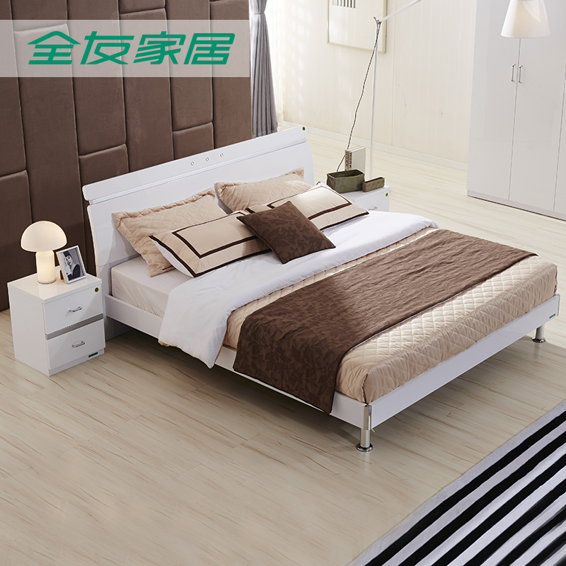 All friends of the furniture bedroom furniture modern minimalist double bed 1.5/1.8 m bed with mattress 72620