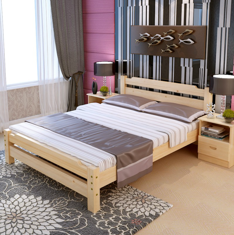 All solid wood bed 1.5 double bed 1.8 adult twin bed 1 m 2 minimalist modern pine wood children's bed category specials
