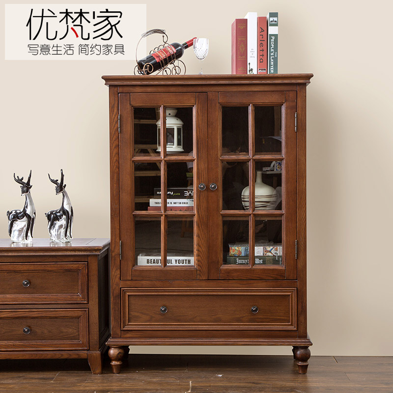 All solid wood living room european american pastoral american country sideboard wine meal side cabinet double door wardrobe closet furniture