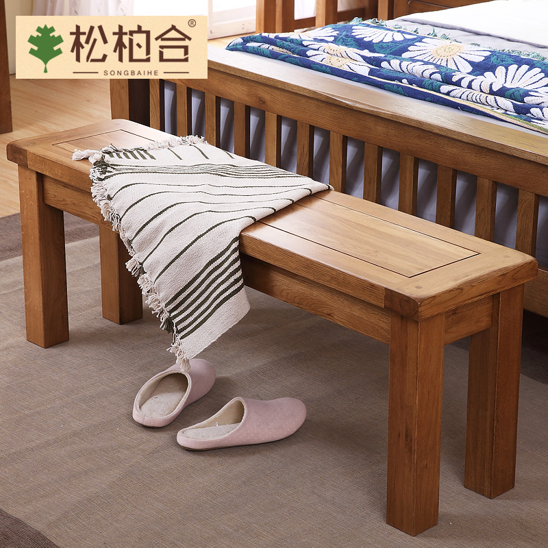 All solid wood oak wood bed end stool shoes stool stool changing his shoes stool stool long bench meal stool stool stool american country