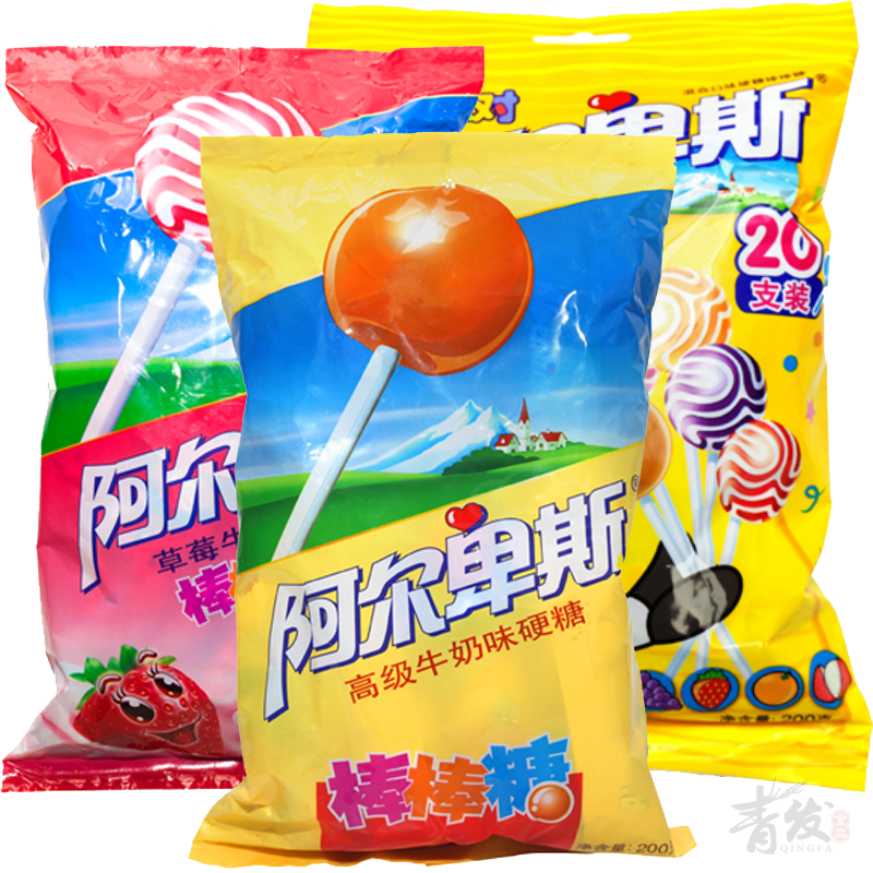 Alpine lollipop flavor/tropical fruit/strawberry flavored lollipop 200g (20 sticks) bagged