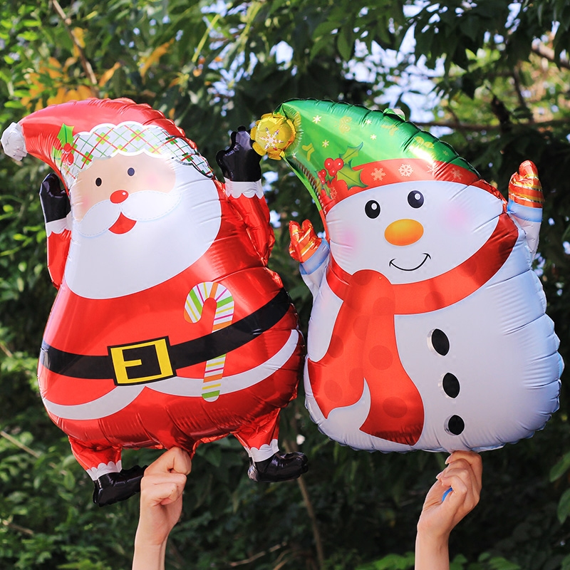 Aluminum balloons cartoon christmas christmas santa claus picture background toy balloons decorated the venue layout