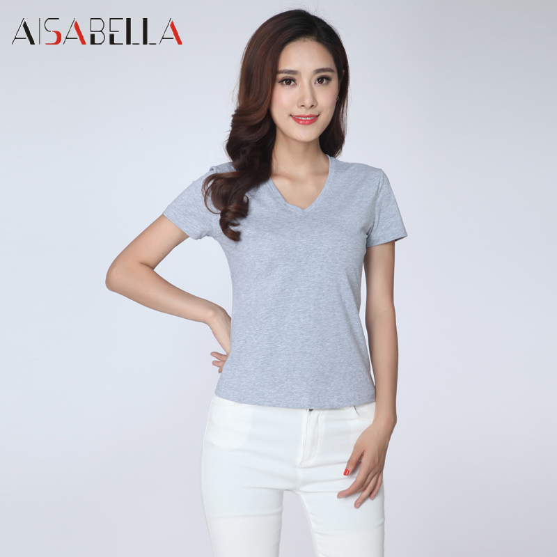 Amass 2016 summer new women's fashion slim short sleeve v-neck short paragraph ms. jane about wild t-shirt shirt