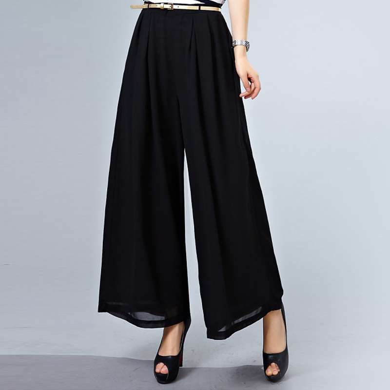 Amass 2016 summer new women's genuine black wide leg pants significant lanky waist culottes ms. genuine