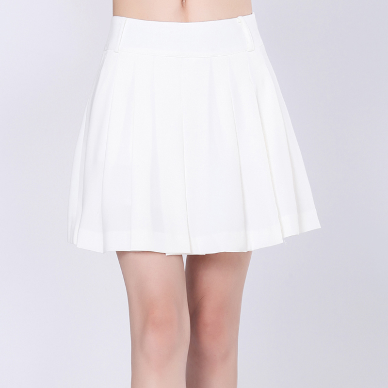 Amass 2016 summer women's genuine new white high waist skirts pleated skirt was thin women genuine disabilities
