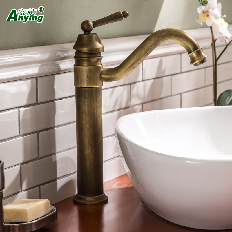 American antique brushed copper faucet hot and cold heightening european retro bathroom faucet single hole faucet single handle faucet