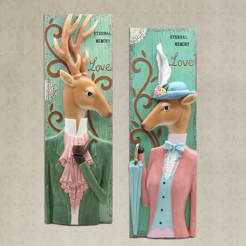 American country creative siding resin deer head wall hangings decorative wall hangings modern and elegant living room wall hangings decorated wedding gifts