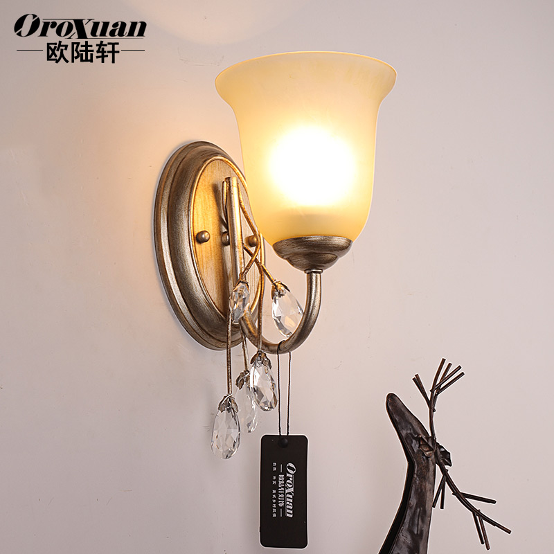 American country european garden wall lamp bedside lamp living room bedroom den restaurant lights crystal wall lamp wall lamp vintage wrought iron