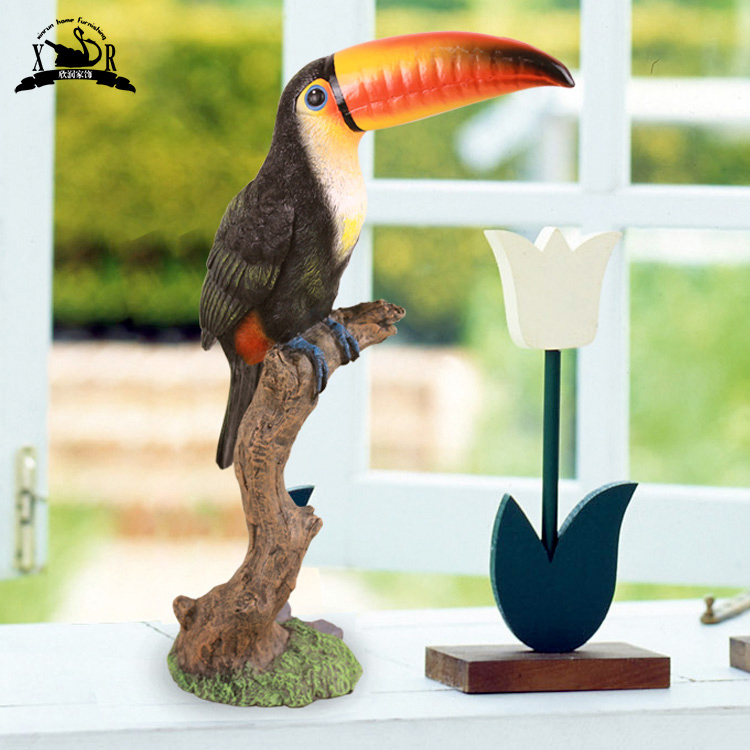 American country pastoral style cute parrot toucan ornaments home decor furnishings simulation crafts