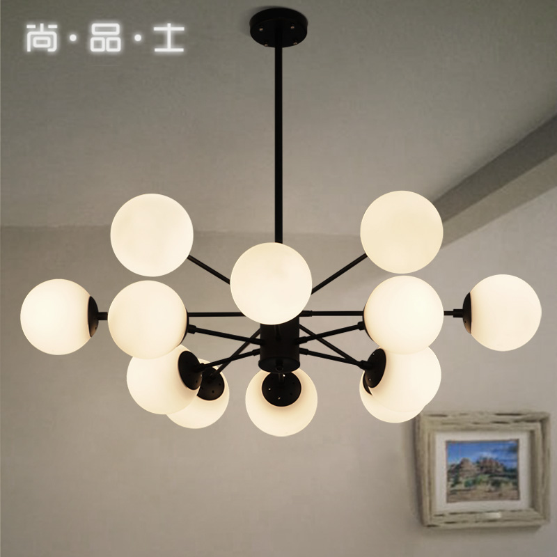 American country style and creative european retro living room lights restaurant chandelier beanstalk molecular milky white glass ball chandelier