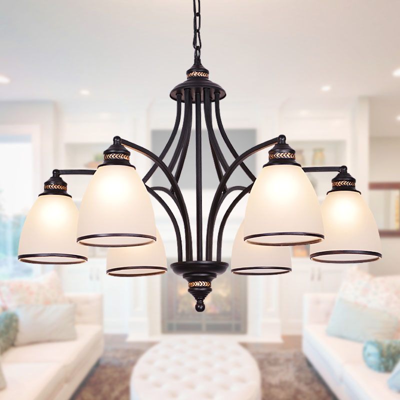 American country wrought iron chandelier glass chandelier with restaurant minimalist living room lamp bedroom lamp european garden ornaments hanging lighting