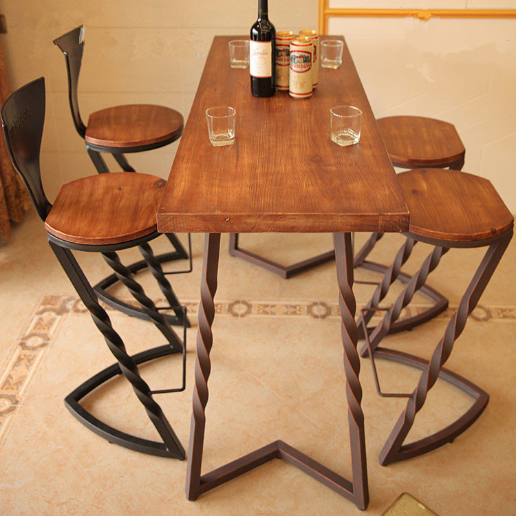 Get Quotations American Country Wrought Iron Dining Table Vintage Wood Square Cafe Bar Chairs Chair