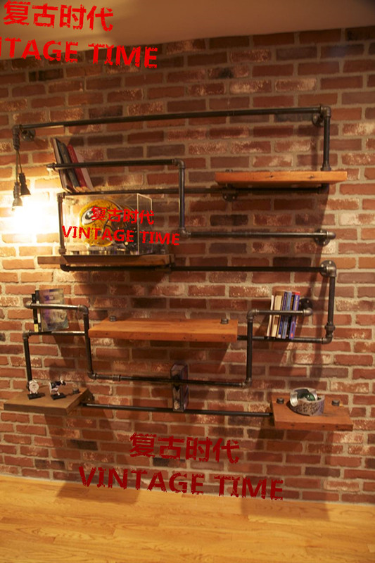 American industrial loft style retro wood wrought iron pipe racks creative decorative frame wall mounted pipes bookshelf