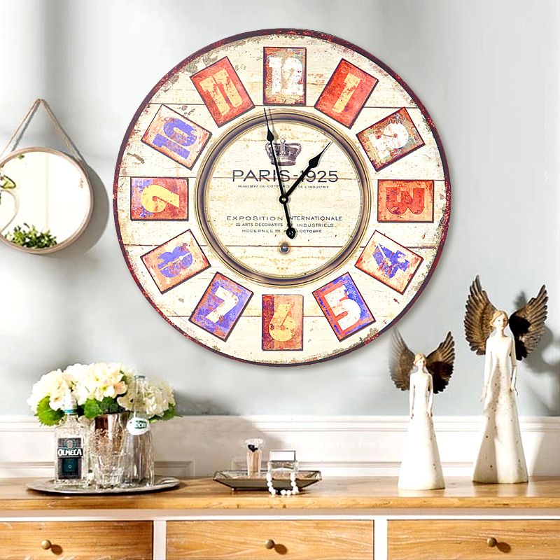 American pastoral retro home living room wall clock large wall clock creative personality bedroom wall clock hanging round table