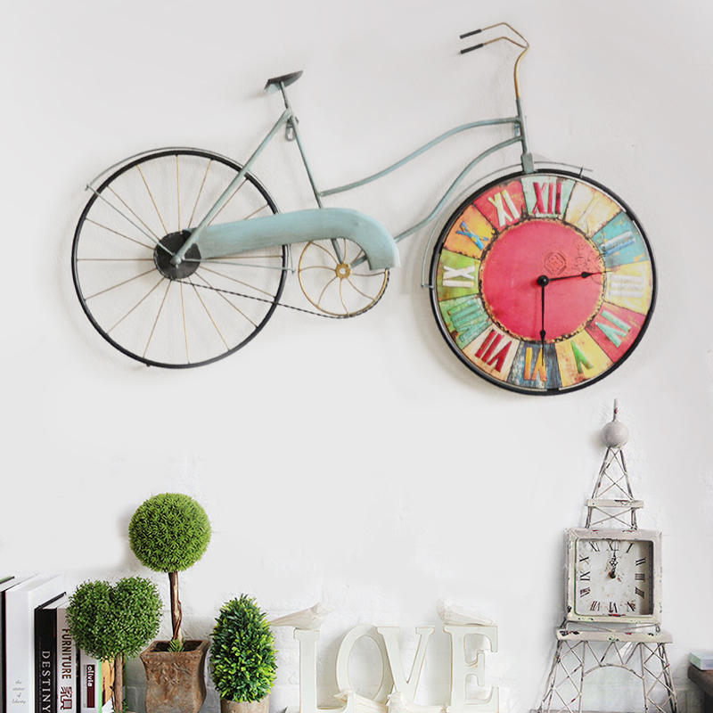 American pastoral wrought iron bicycle wall clock creative home wall murals cafe soft decorations wall hangings wall hangings