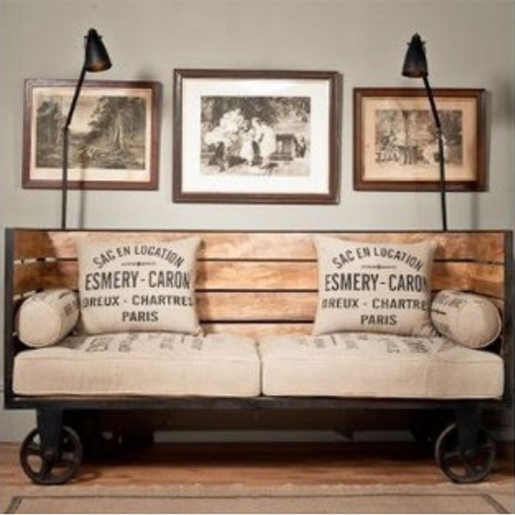 American retro loft industrial wrought iron wood to do the old wood sofa chair sofa chair antique wood deck
