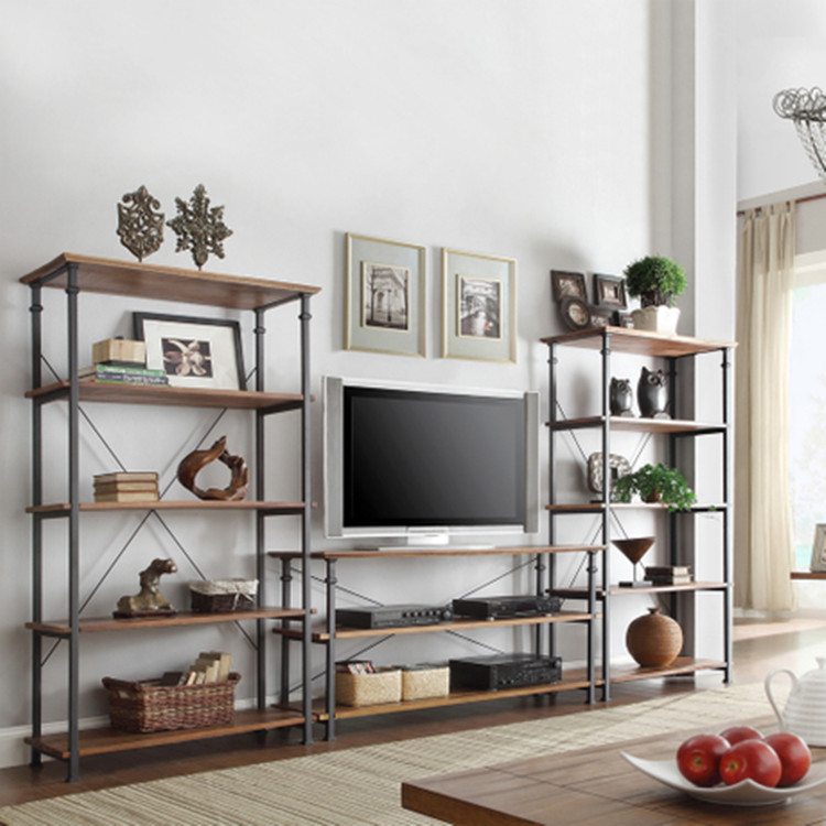 American vintage wood shelf word partition wall shelf bookcase shelf kitchen storage rack display rack tv cabinet tv cabinet