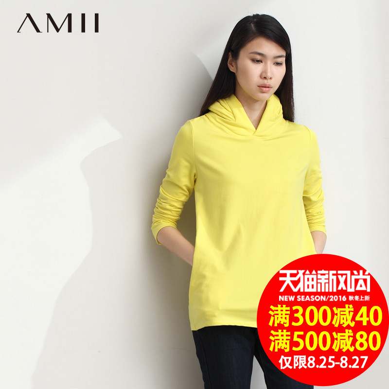 Amii and jane 2015 autumn and winter clothes long sleeve pocket big yards elastic piles collar sweater female 1144 0552