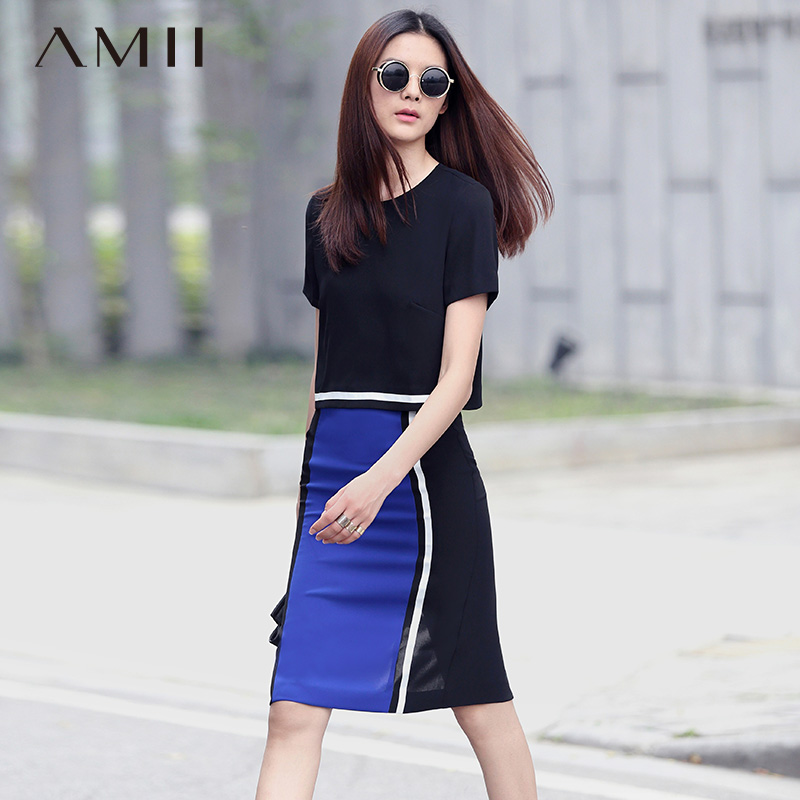 * Amii [minimalism] 2016 amoi slim hit the color ribbon piece skirt suit 11691648