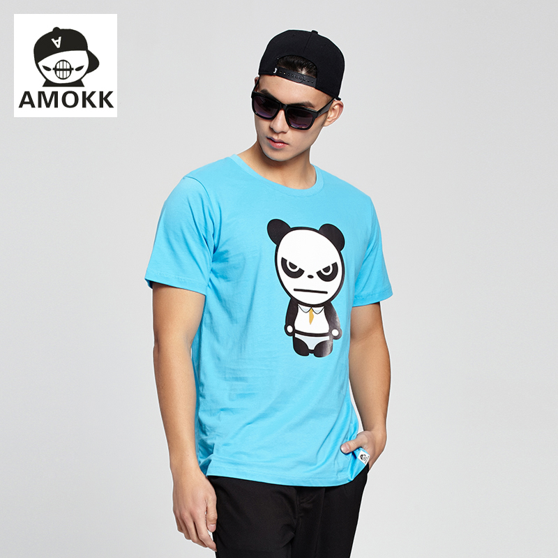 Amokk new gloomy bear cartoon short sleeve t-shirt male large yards men's cotton half sleeve loose summer tide