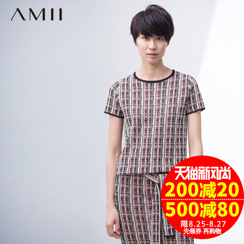 Amy amii flagship store in spring new round neck short sleeve hit color national wind pattern was thin knit t