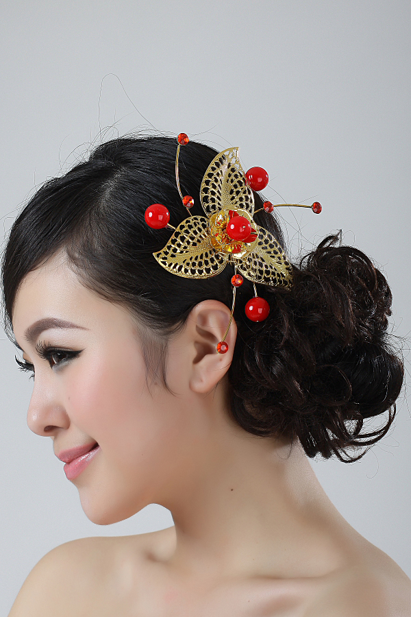 Amy hsuan romantic wedding three leaf type hairpin hairpin bridal jewelry