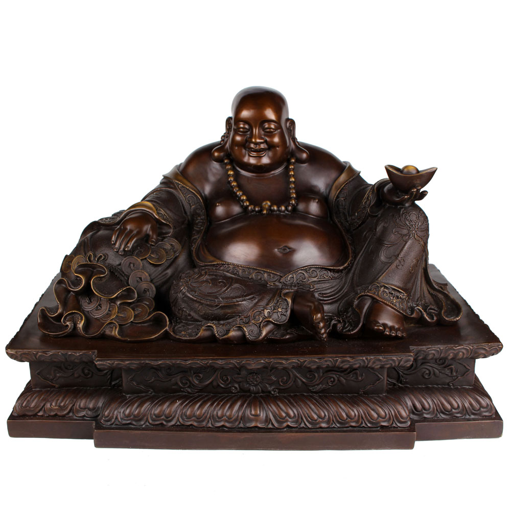 Ancient leaves home opening copper copper ornaments maitreya buddha laughing buddha king copper crafts ornaments lucky home decoration products