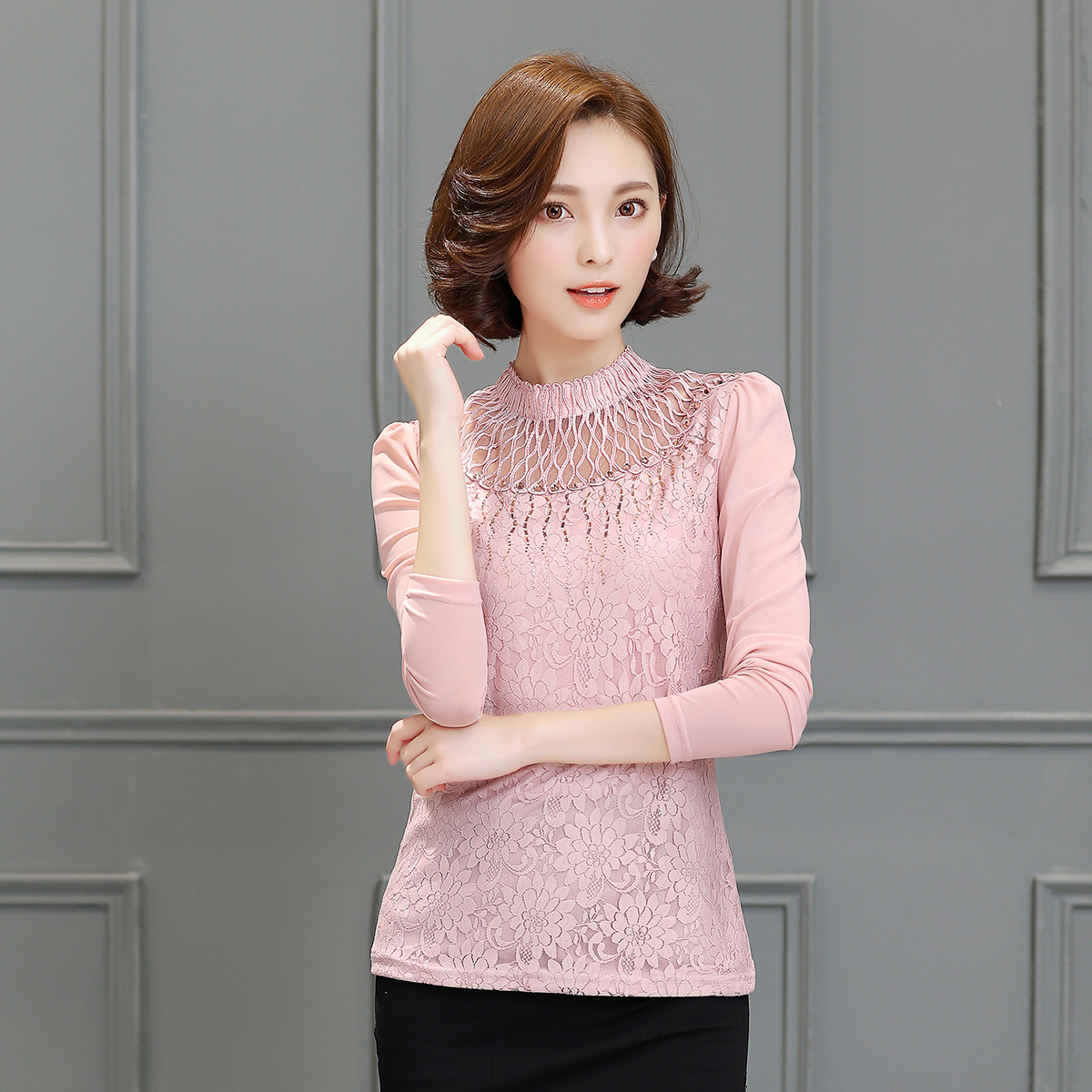 And a half high collar autumn long sleeve shirt female 2016 spring and autumn new korean women slim lace shirt bottoming shirt blouse