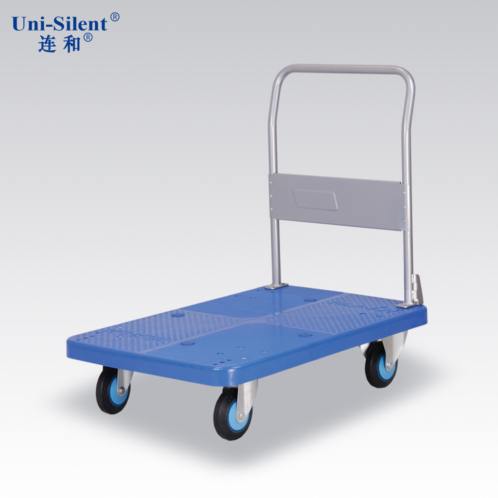 And even half mute fixed handle pushcart monolayer plastic flatbed truck flatbed carts pla250y