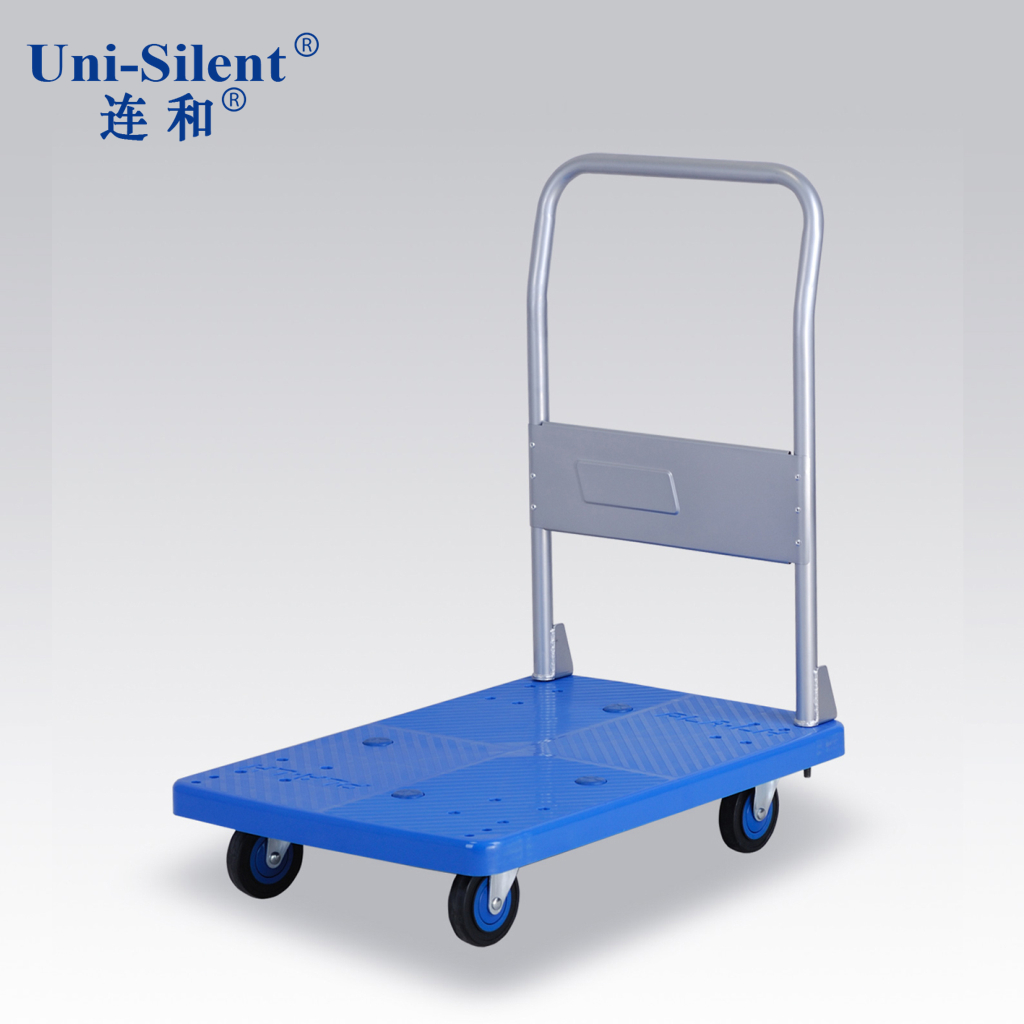 And even half mute fixed handle pushcart monolayer plastic flatbed truck flatbed carts pla300y