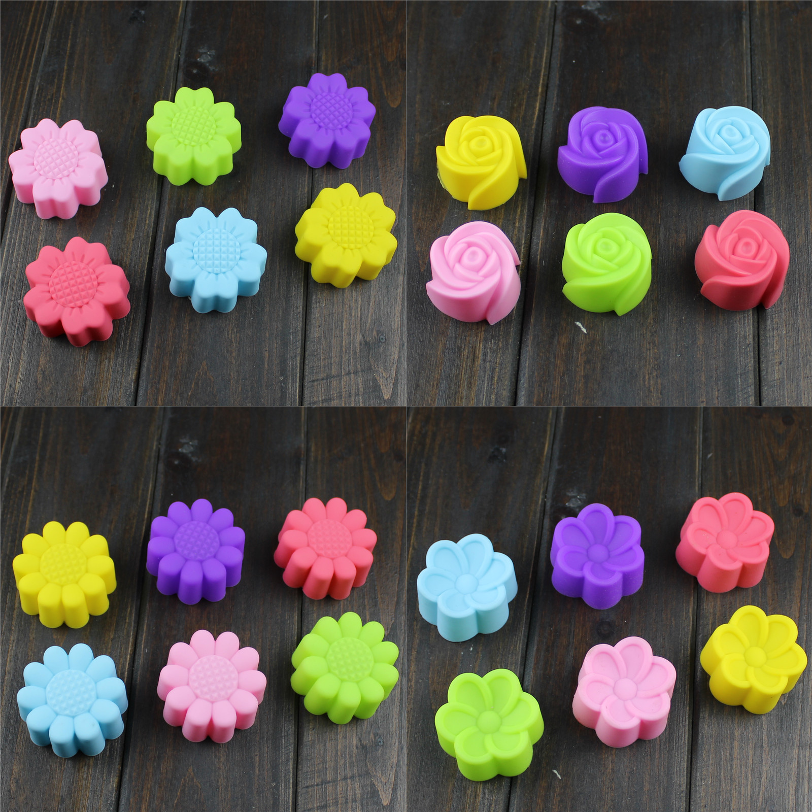 And fruit flower silicone mold plum begonia begonia flower rose flowers and fruit mold 6 a set of random colors