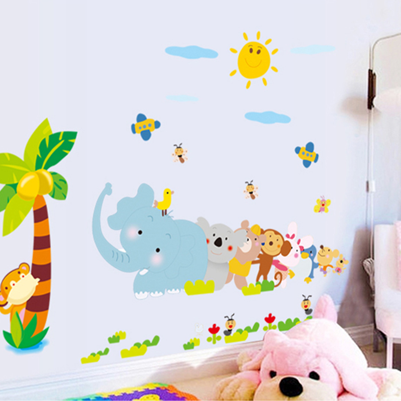Animal elephant relay nursery decor removable wall stickers bedroom wall stickers baby measuring height and stickers