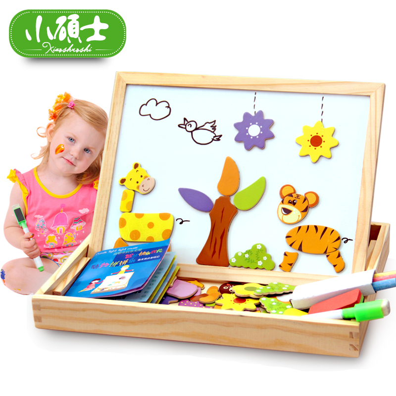Animal magnetism fight fight music wooden three-dimensional jigsaw puzzle black sketchpad children's educational baby toy building blocks 2-3-6 years old