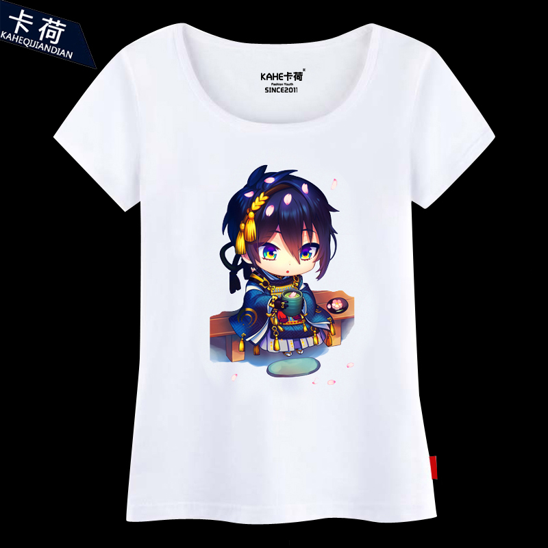 Anime sword flurry卡荷mikazuki live close clothes short sleeve t-shirt cotton round neck short sleeve summer male and female models