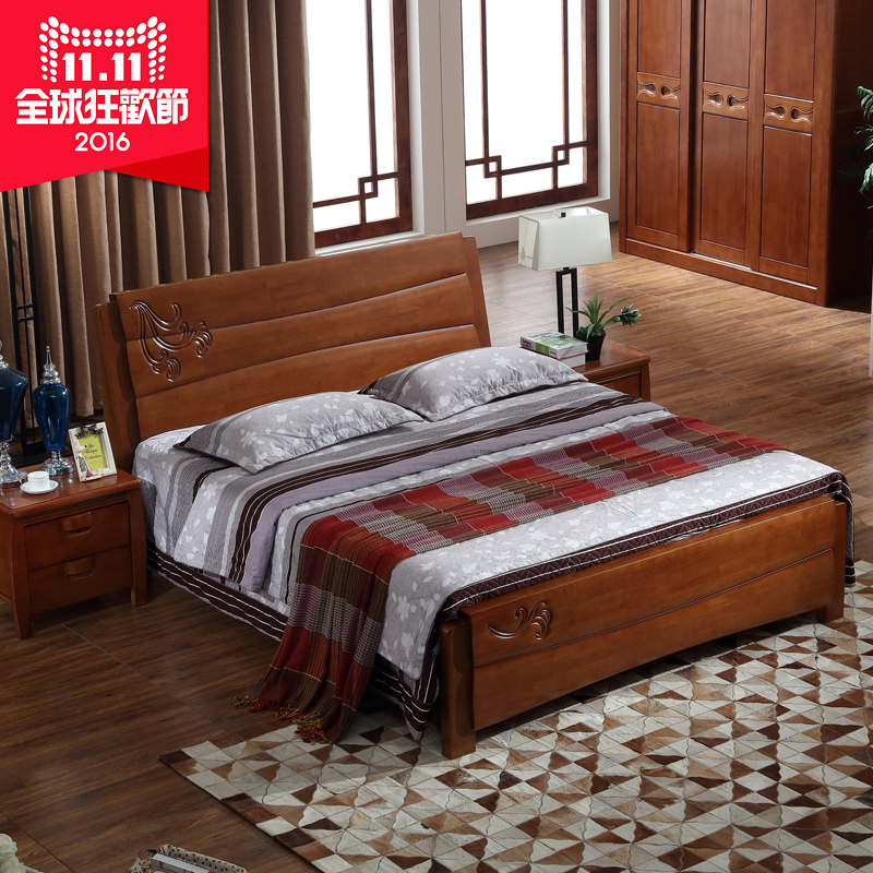 Anju xin furniture minimalist modern wood bed 1.8 m double rubber wood bed bedroom double bed marriage bed 8902