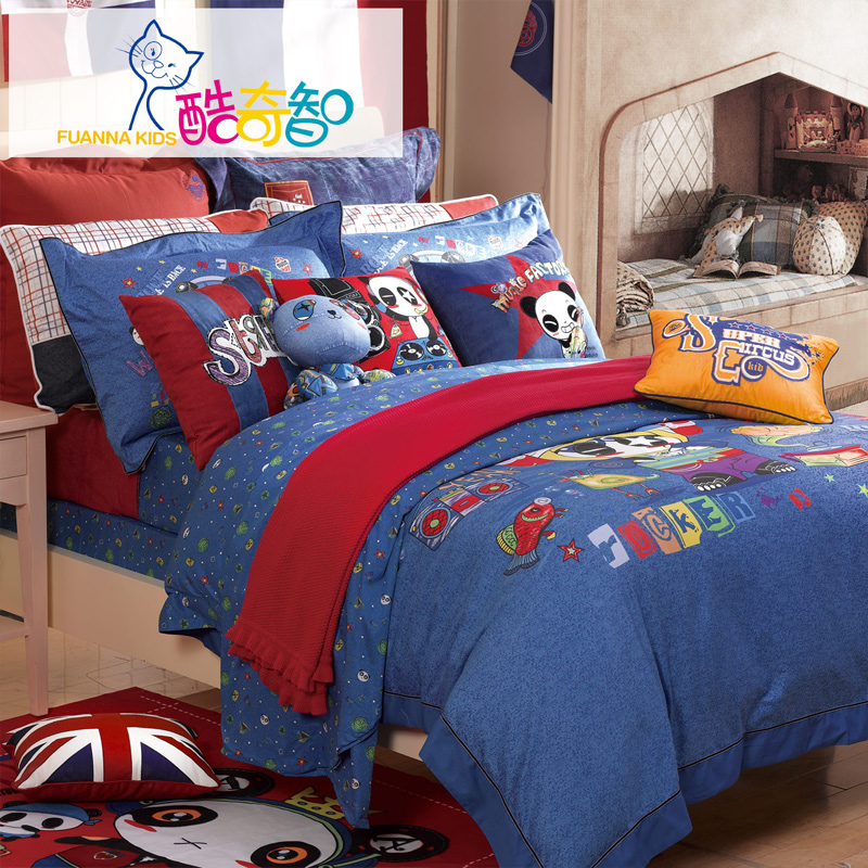 Anna rich textile krotchy chi children's bedding cotton bed linen quilt cotton denim four sets of music kingdom