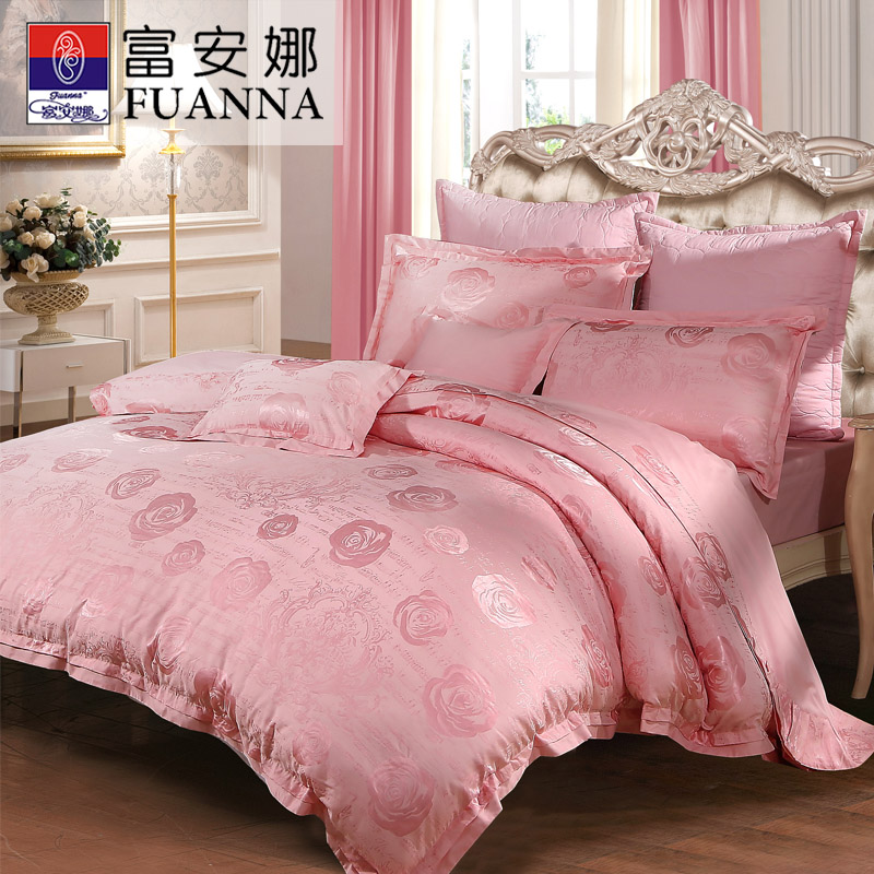 Anna rich textile wedding bedding pink romantic jacquard denim cotton linens dedicated to alice