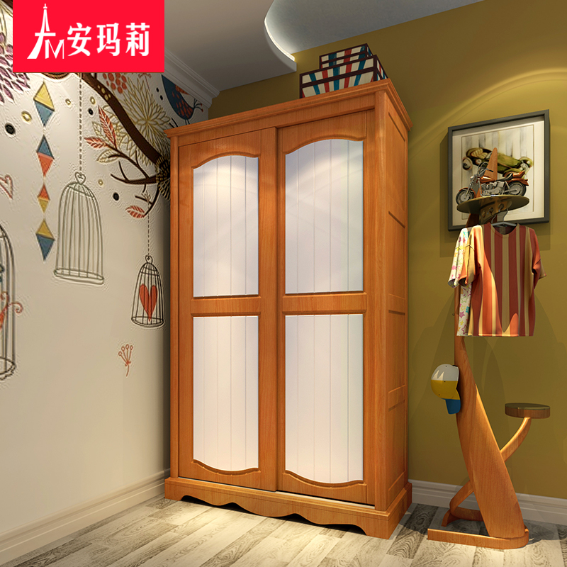 Annmarie 2 american children all solid wood double door wardrobe sliding door sliding door sliding door sliding door wardrobe whole wardrobe armoire