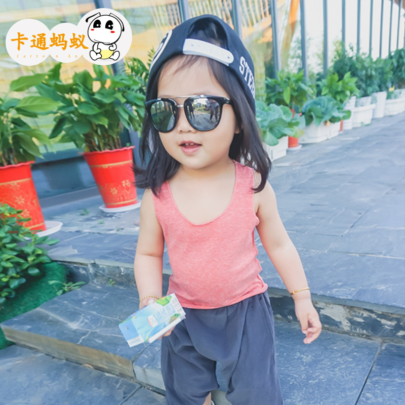 Ant kids 2016 summer new girls sleeveless vest cartoon baby bottoming pure color camisole children