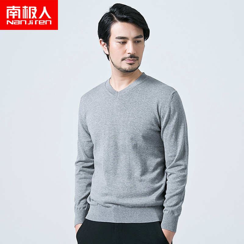 Antarctic new fall fashion men's solid color long sleeve t-shirt autumn male v-neck sweater bottoming