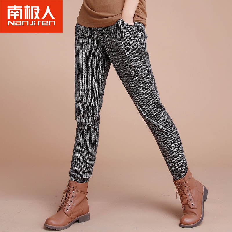 Antarctic winter new elastic waist plus velvet harem pants female korean version of the simple ladies casual pants thick section stretch