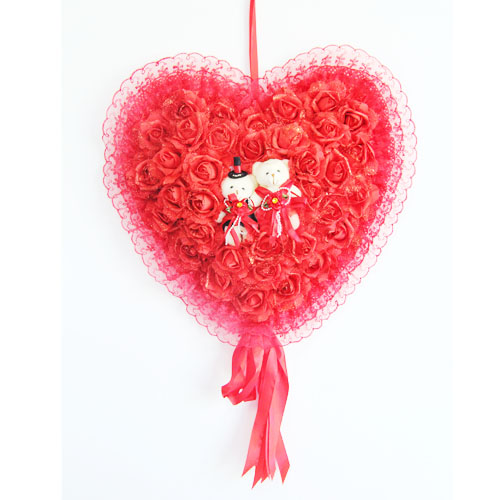 Anyang red rose of love and creative marriage room layout wedding decoration garland wedding supplies wedding peach heart pendant