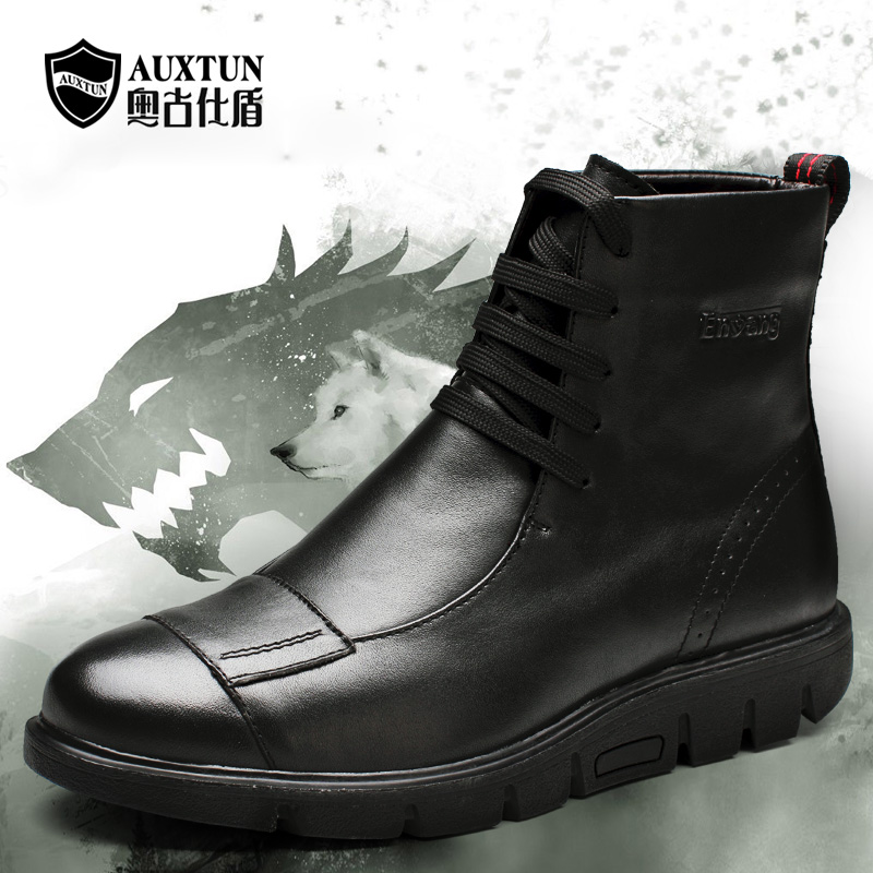 Ao gushi shield autumn and winter influx of men leather boots warm boots leather boots lace men's casual shoes N5103