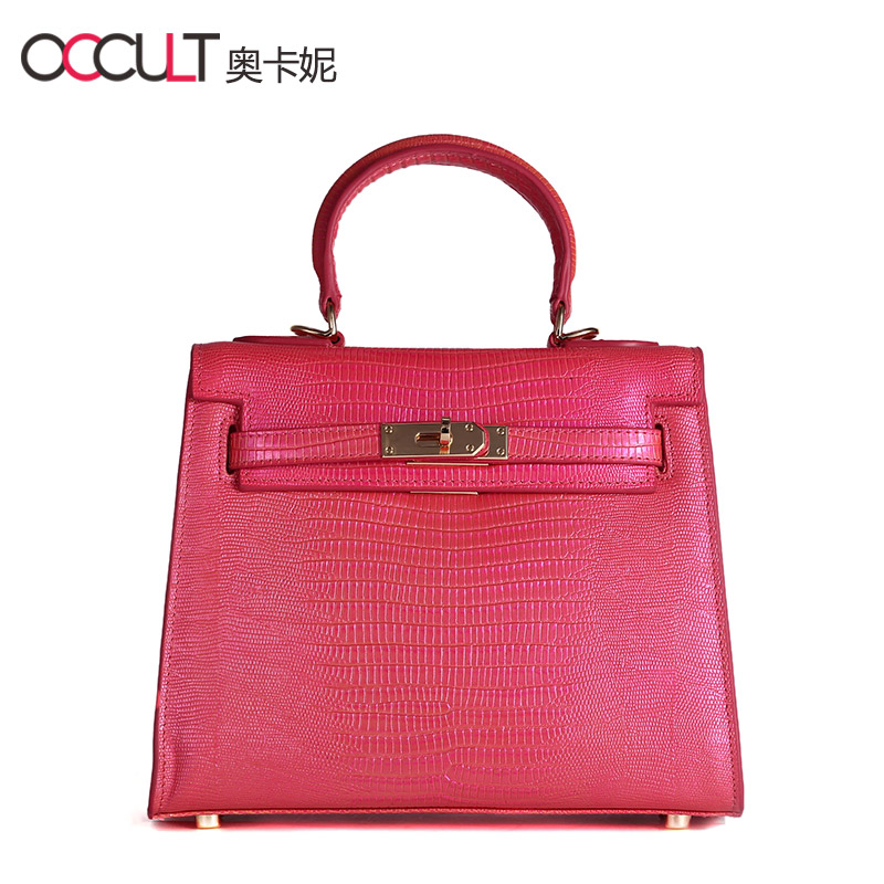 Ao kani summer fashion lady shoulder bag first layer of leather lizard grain leather crocodile kelly bag mini bag
