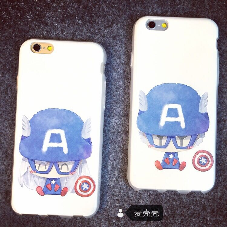 Apple 6 plus couple phone shell casing iphone6 captain america cartoon protective shell mobile phone sets
