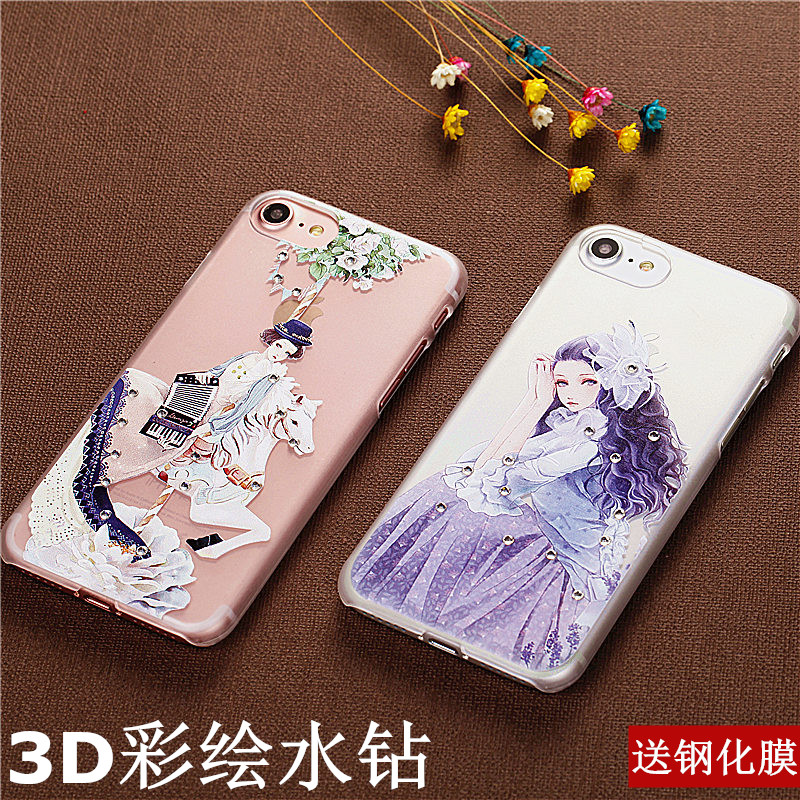 Apple 7 phone shell mobile phone sets new diamond female transparent purple section iPhone7plus protective sleeve 5. 5 cartoon scrubs