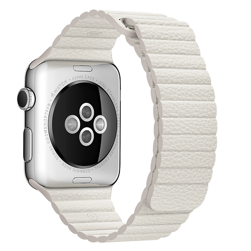 Apple/apple 42mm white leather strap back ringlike